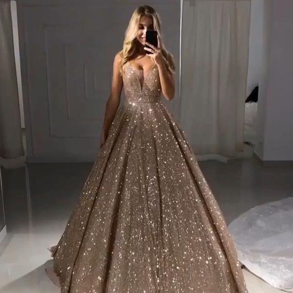 Vestidos Para Casamento Sparkly Glitter Tecido Vestidos De Baile Uma Linha Mergulhando V Pescoço Até O Chão Ocasião Especial Vestidos De Noite Formais