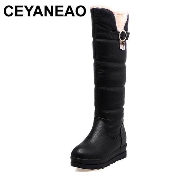 CEYANEAO 2018 Large Size 33-44 Black White Women Shoes Casual Platform Add Warm Fur Long Plush Winter Snow Boots WaterproofE1067