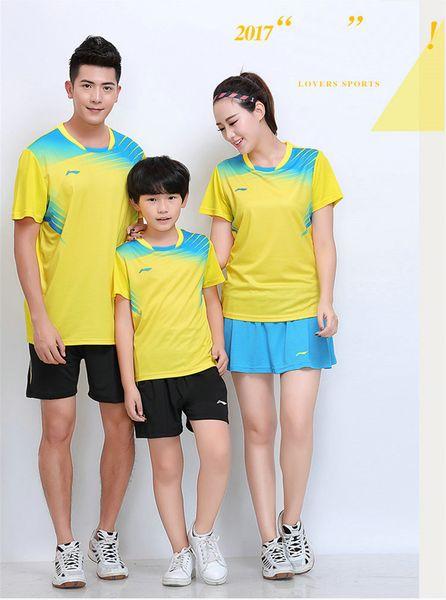 LI NING 7304 Schnelltrocknender, atmungsaktiver Badmintonanzug Kurzarm-T-Shirt mit Rundhalsausschnitt Laufen Basketballbekleidung MenWomenKids gelb