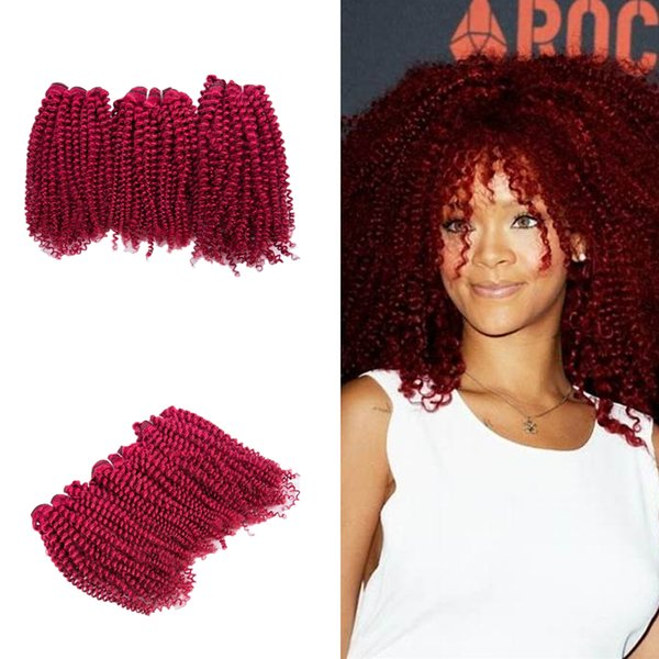 Kinky Curly Wine Red Hair 3Bundles teje el pelo de Borgoña barato 3Pcs / lot Afro rizado 99J extensiones de cabello humano virgen