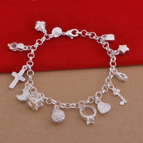 925 Sterling Silver Plated Charms Bracelets Heart Lock Cross Ring Star Moon Charm Bracelet 13pcs Pendants Charms Bracelet Jewelry DHL FREE