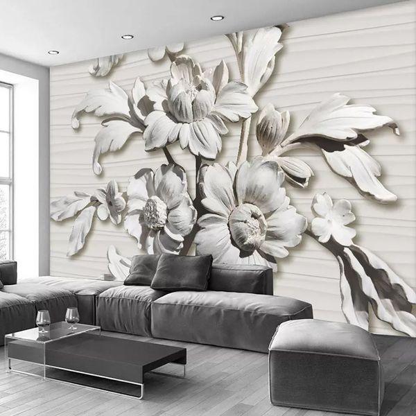 Großhandel Fototapete 3D Relief Blumen Fototapete Wohnzimmer Schlafzimmer  Abstrakte Kunst Design Tapeten Für Wände 3D Home Decor Custom Jede Größe  Von ...