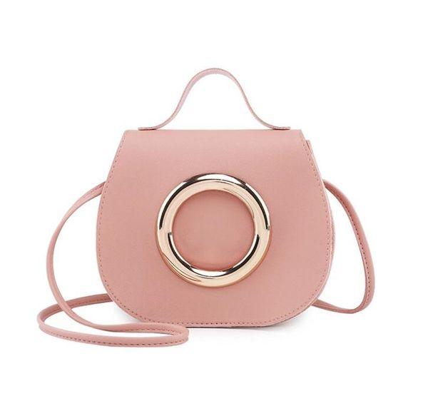 50pcs Cross body Bag Women pu Big Circle Hasp Shoulder Bag 4Colors Girl fashion large capactiy Handbag