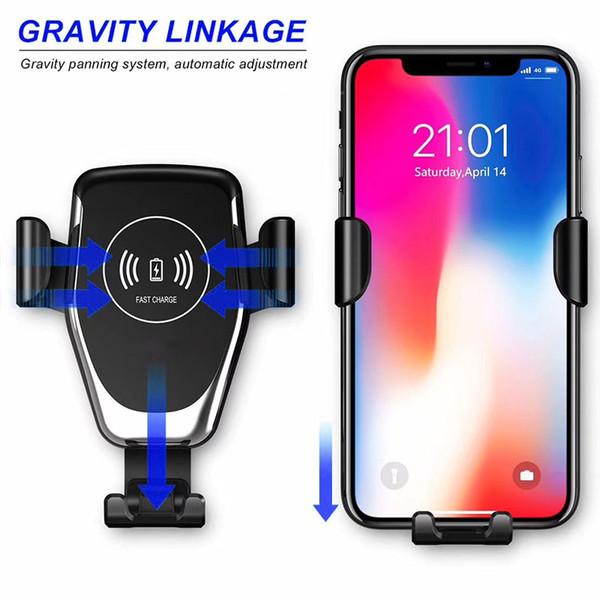 Pour iPhone Samsung Chargeur sans fil 10W rapide chargeur de voiture de téléphone portable Support de téléphone de voiture Mount Air Vent