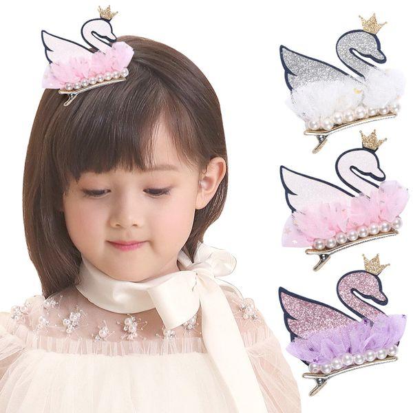 2019 Baby Hair clips Aniamls Design Swan Hair Clips 20pcs/lot Wholesale Hair Baby Bestseller Glitter Felt Pearl Cartoon Hairpins Lovely Kids