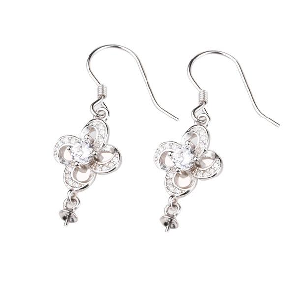925 Sterling Silver Women Drop Earrings Flower 6-12mm Round Bead or Pearl Semi Mount Hook Earrings Crystal Wholesale fit amber agate garnet