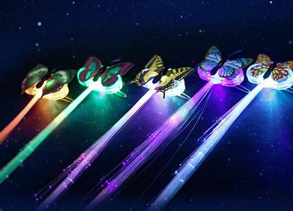 Бесплатная доставка бабочка LED Оптоволоконная Включается мигающий волос Flash-Заколка клипа косы партии Принадлежности для Рождества