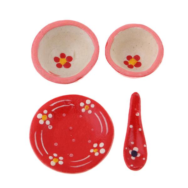 1/12 Maison de poupées décoration de salle à manger - Set de vaisselle en céramique miniature Vaisselle Jouets Enfants faire semblant de jouer jouet couleur aléatoire