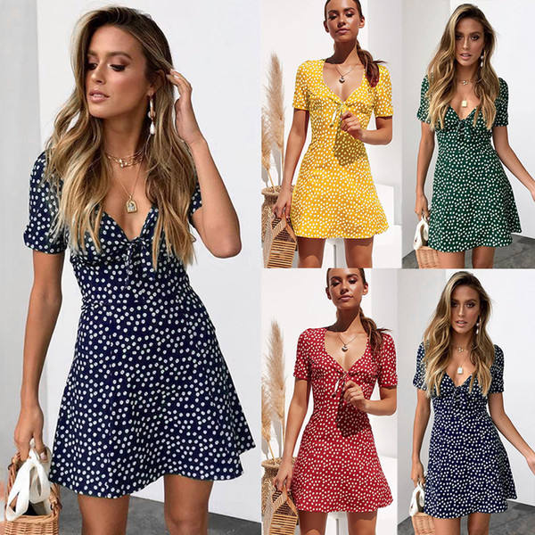 2019 womens summer mini dress ladies short sleeve bodycon beach party dot sundress robe femme women dress
