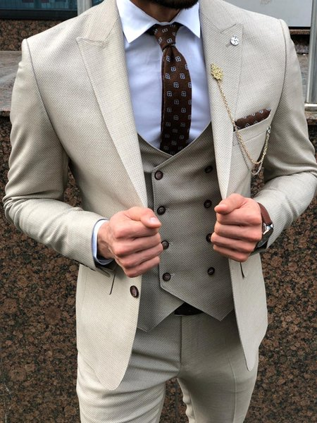 Fashion Harris Tweed Groom Wedding Tuxedos Slim Fit Two Button Mens Pants Suits 3 Pieces Formal Best Men Handsome Blazer
