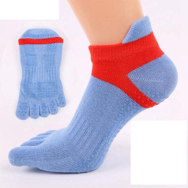 Five-toed yoga socks jacquard cotton blue sports dance socks for women 34-39 yards high quality Silicone non-slip wholesale