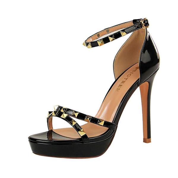 iMaySon Женская европейская элегантность Вечеринка на платформе Лакированная кожа Туфли на высоких каблуках Свадебная обувь Высокие каблуки Босоножки с ремешком