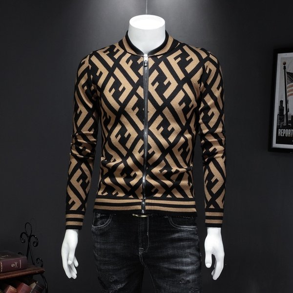 Men's Wear 2019 Autumn Men Sweaters Knitting Blouses Zipper Cardigan Youth Wire Clothes