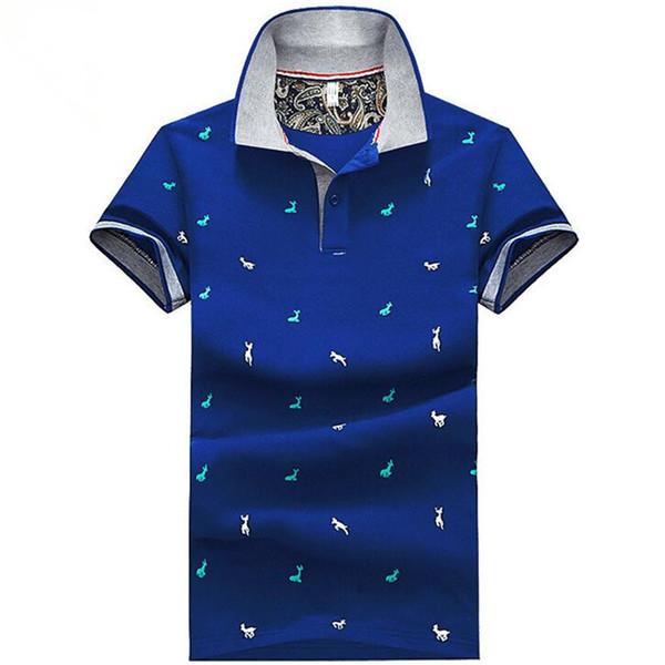 Neue Mode Männer Unisex niedlichen Cartoon Hirsche Druck T-Shirts stricken Baumwolle Kurzarm Stehkragen Jugend elastische blau weiß Teens Tees Shirts
