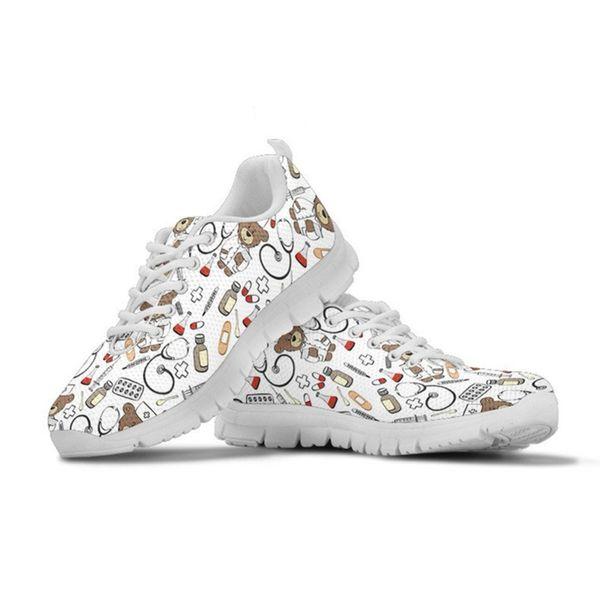 Bear Nurse Sneakers White Women Casual Flats Shoes Summer Comfortable Mesh Ladies Shoes Woman Cute Girls Footwear