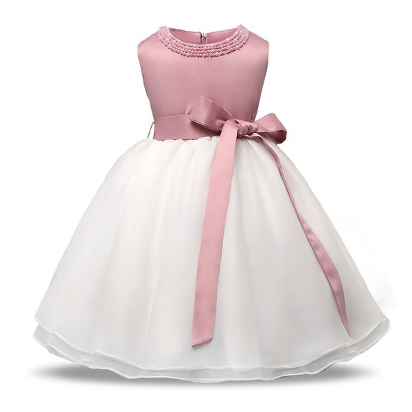 2018 Little Baby Clothes Pearl O-neck Sleeveless Wedding Dress Fancy Costumes For 1 2 Year Children Formal Occasion Outfits Y19061001