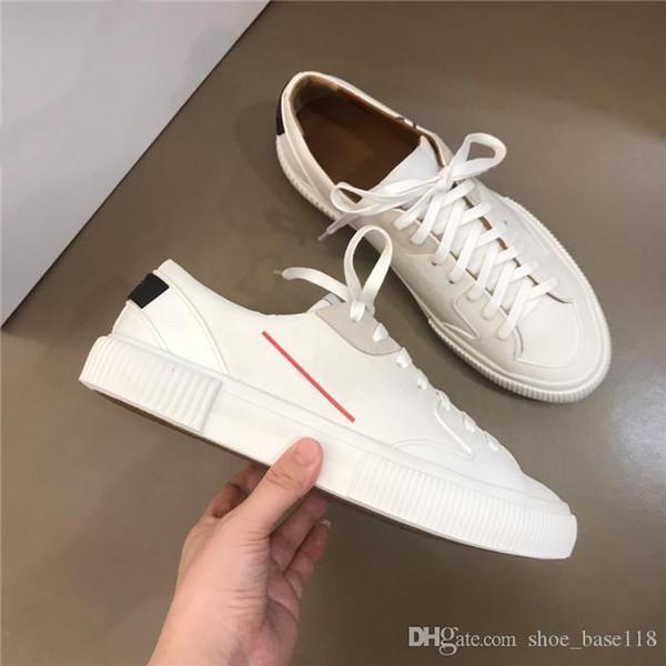 Zapatos deportivos casuales clásicos para hombres, zapatos planos para correr y caminar de goma de cuero blanco flor, con cajas talla 38-44