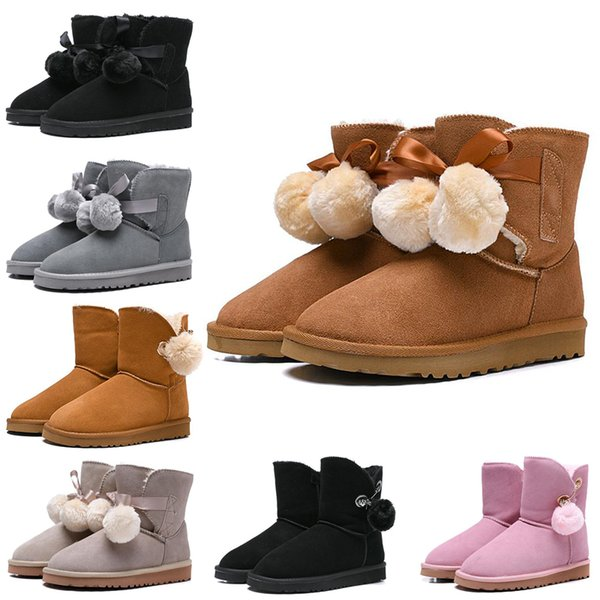 Women Boots WGG Australia Classic Snow Booties Bailey Hairball Bow Tie Ankle Knee Womens Girls Luxury Designer Winter Boot Drop Shipping