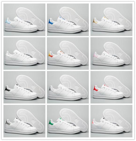 2019 original smith mujeres de los hombres zapatos casuales verde negro blanco azul de plata de color rosa roja de cuero para hombre de la moda del zapato Stan pisos sneakersfc6f #