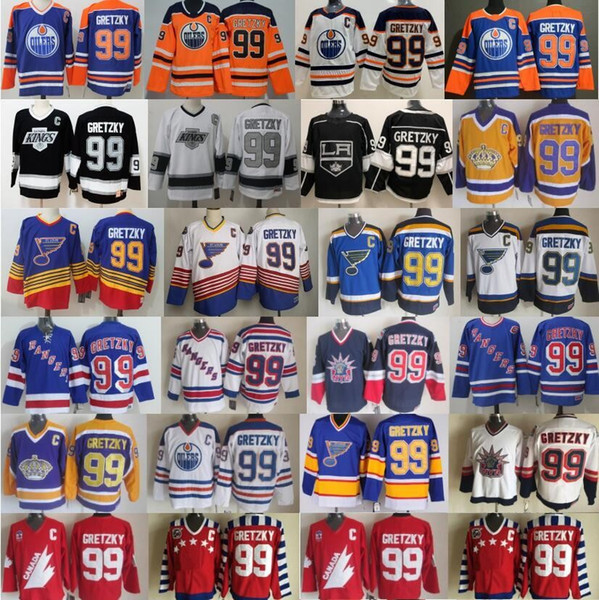 top popular CCM Vintage 99 Wayne Gretzky Jersey Men Ice Hockey New York Rangers St. Louis Blues LA Los Angeles Kings Edmonton Oilers Blue Black White 2021