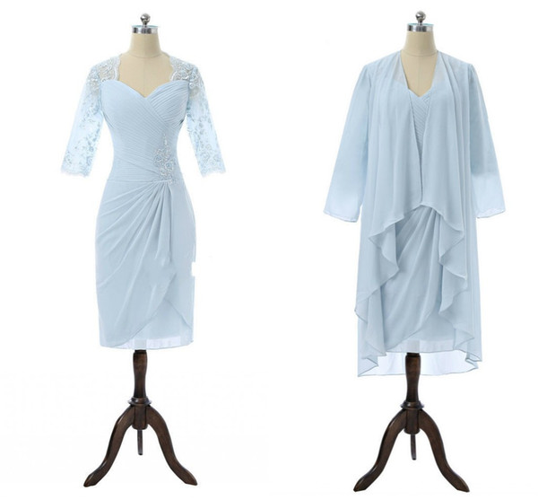 Elegant Light Blue Two Piece Mother of the Bride Groom Suit Dresses Lace Sleeves Knee Length Sequin Chiffon Long Jacket Prom Party Dress
