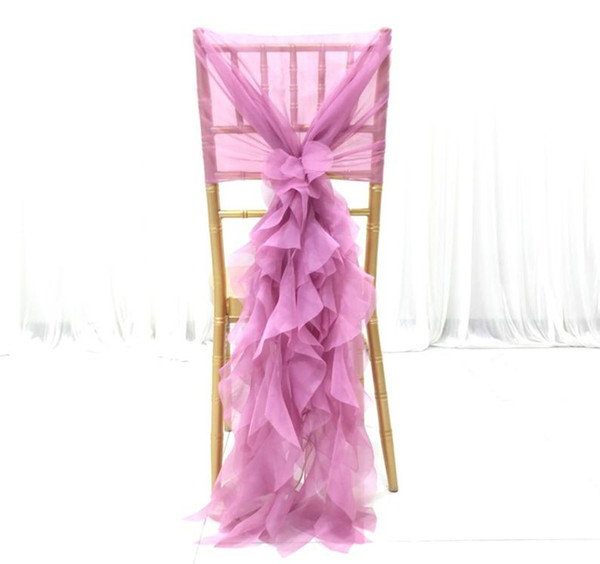Chiffon Ruffles Vintage 2019 Wedding Chair Covers Cheap Fashion Chair Sashes Elegant Wedding Decorations Wedding Accessories CS01