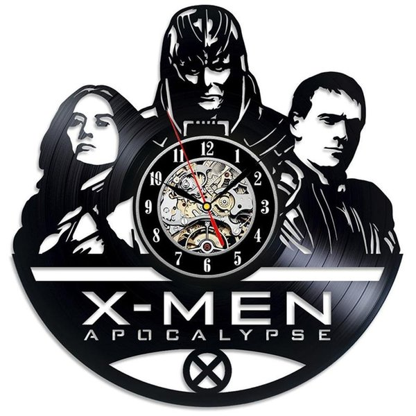 X-Men Nouveau 12 pouce vinyle Record Horloge Murale Rond Noir Horloge murale Creative Horloge Moderne Home Decor Simple Salon Décoration De Noël