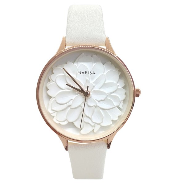 Nafisa Women's Hot Fashion Frost White Embossed 3D Peony Flower Dial Japan Quartz Suede Leather Strap Wrist Watch NA-0129