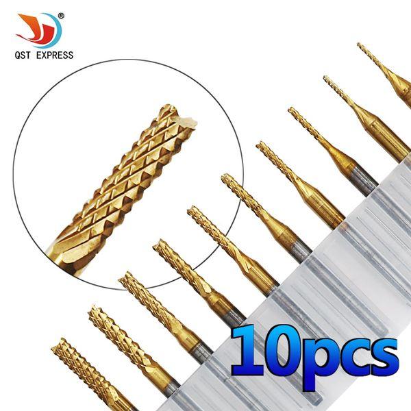 drill bit set QSTEXPRESS 10Pcs 1/8'' 0.8-3.175mm 0.6-1.5mm PCB Drill Bit Set Engraving Cutter Rotary CNC End Mill
