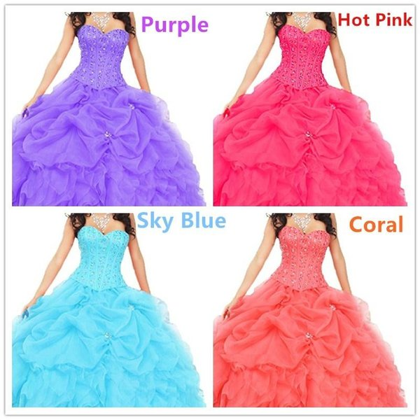 Sweetheart Ruched Beading Bodice Ball Gown Organza Quinceanera Prom Dresses Evening Custom Plus Size Formal Occasion