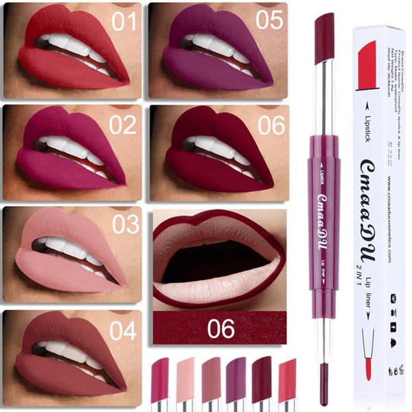 Matte Lippenstift + Lippenstifte Double-End 2in1 wasserdicht Lip Liner Lippenstift Make-up Stift 6 Farben bilden Werkzeuge RRA1222