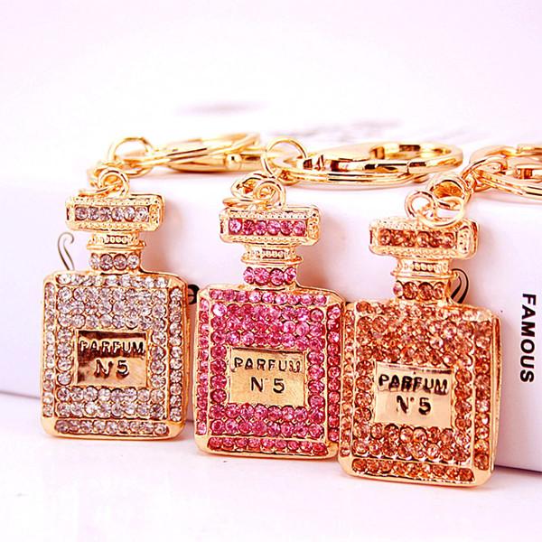 Portachiavi di cristallo della bottiglia di profumo Portachiavi di lusso della catena chiave delle donne dei gioielli del progettista Portachiavi delle donne di modo degli accessori dell'automobile della borsa chiave
