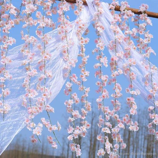 200 cm Artificielle Fleurs De Cerisier Fleur De Mariage Décoration BRICOLAGE Rotin Guirlande Simulation Fleurs Vigne Partie Maison Couronne