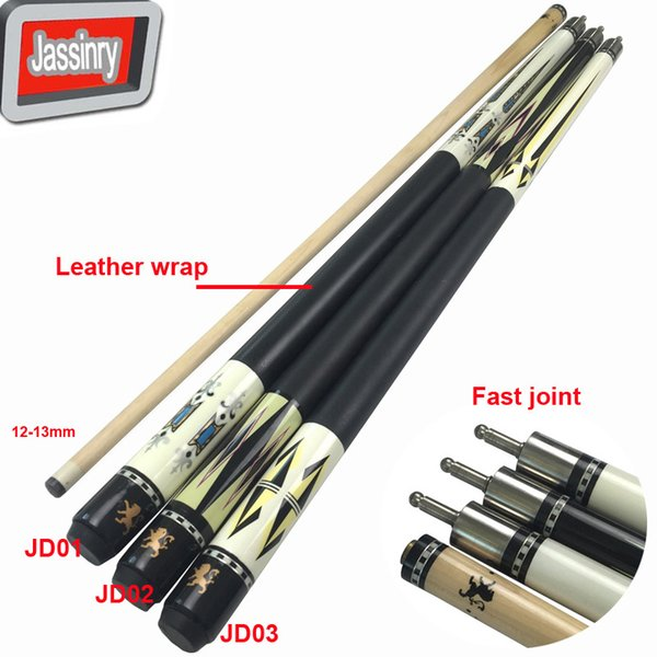Jassinry 12.75mm Billiards Pool cues in fast joint and leather wrap Professional 1/2splited Maple wood cue sticks China
