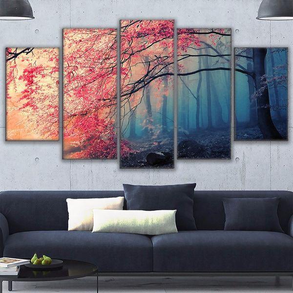 Poster HD Baskılar Modern Duvar Sanatı Tuval Oturma Odası Için 5 Parça Kiraz Çiçekleri Resimleri Dekor Kırmızı Ağaçlar Orman Boyama