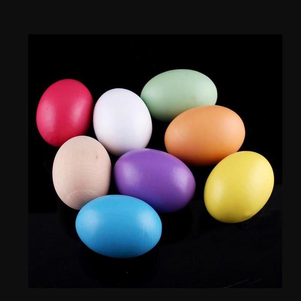 Huevos de Pascua de madera 4.45 * 6 cm Día de Pascua Juguetes de Madera Pintura sólida Huevo Para Niños Regalos Artículos de la Novedad del Día de los Inocentes de Abril LX6136