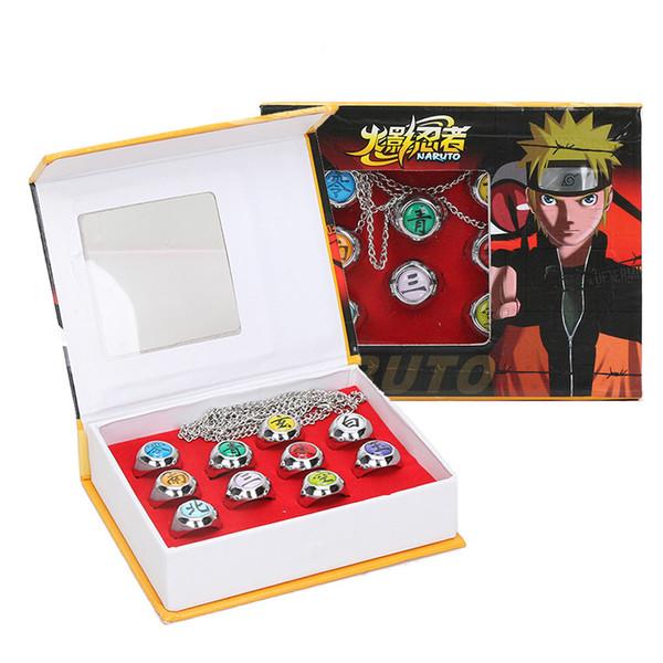 10pcs/set Naruto Akatsuki Alloy Set Pein Uchiha Itachi Ring Action Figures Japanese Anime Cosplay Toys C19041501