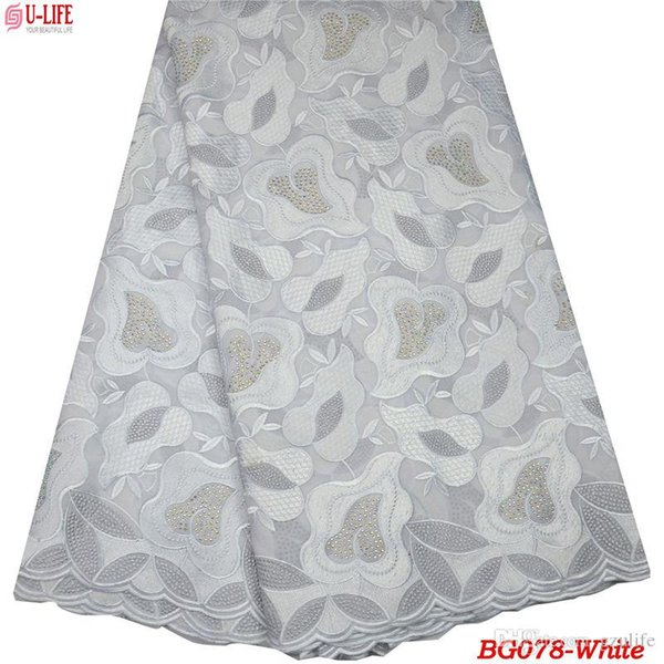 African Lace Fabric 2019 Swiss Voile Lace In Switzerland High Quality White Wedding 100% Cotton Voile Lace Fabric For Stones Dresses BG-078
