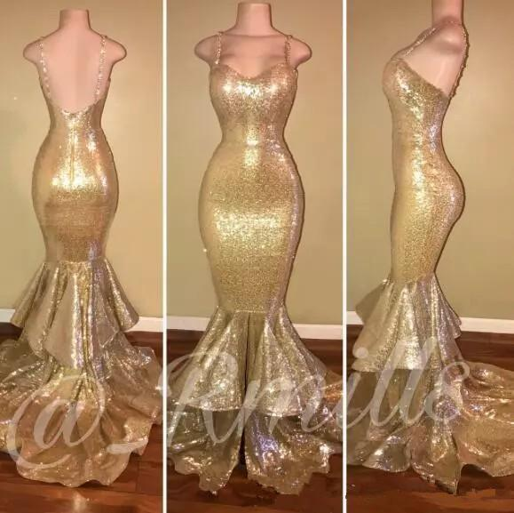 best selling 2019 Cheap Gold Sequins Mermaid Prom Dresses Spaghetti Straps Ruffles Skirt Long Formal Party Dresses Backless Evening Pageant Gowns Cheap