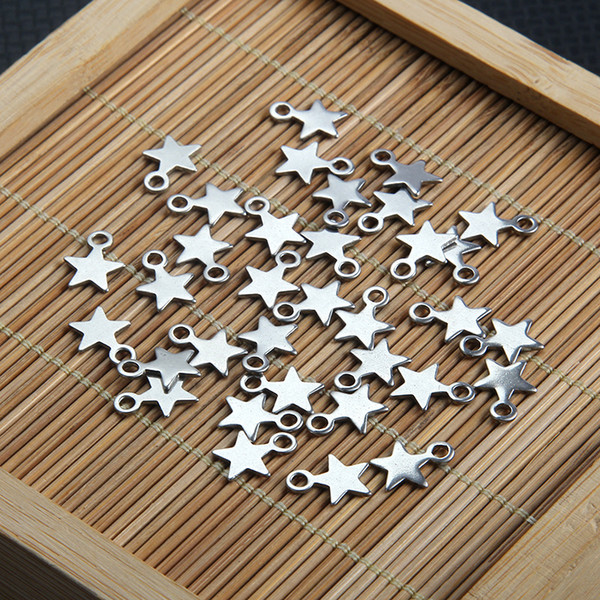 Semitree 20pcs Small Stainless Steel Star Pendant Charms for DIY Necklace Decoration Bracelet Jewelry Making End Tail Charm