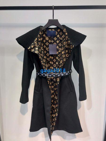 высокого класса женщин девушки обернуть пальто монограмма мотив миди тренчкот твидовые куртки ветровка пояса длинный рукав дизайн взлетно-посадочной полосы моды верхней одежды