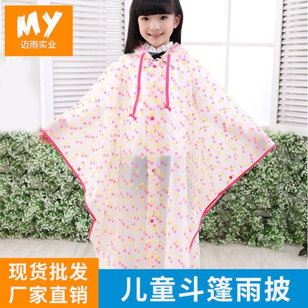 Eva Cape Children Raincoat Outdoor Fashion Semi-Transparent Baby Poncho Polka Dot Light Walking Raincoat