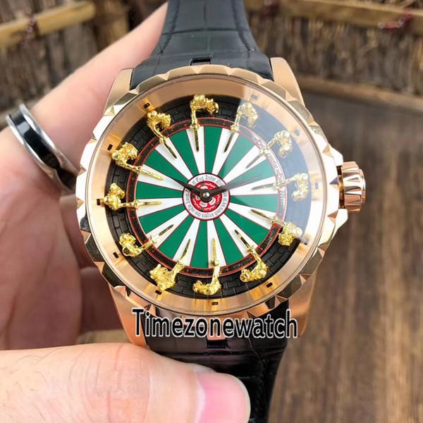 Excalibur 45 RDDBEX0398 Автоматические мужские часы из розового золота черный зеленый белый циферблат Золотые рыцари круглого стола Часы Timezonewatch E11d4