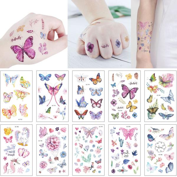 Tiny Waterproof Temporary Kid Tattoo Sticker Arm Neck Hand Body Art for Women Girl Cute Colored Angel Butterfly Flower Tattoo Original Decal