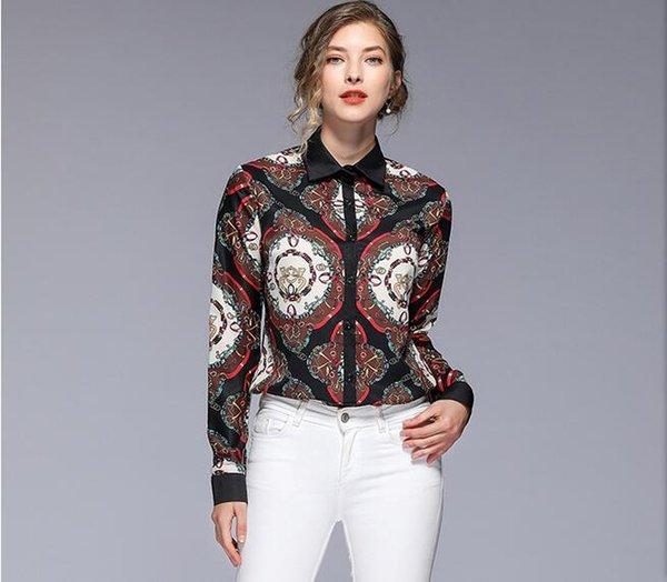 Floral chain Print Button Detail Long Sleeve blouses red black lapel neck fashion chiffon shirts women shirts spring summer ladies blouses