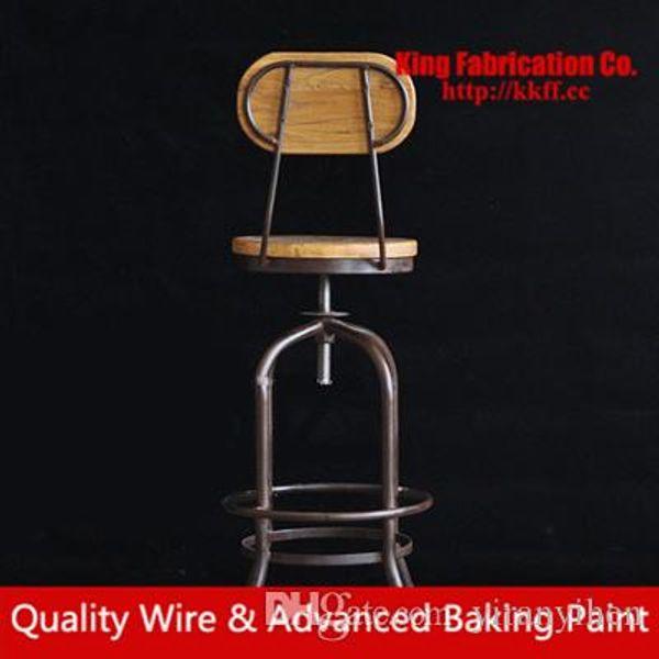 Loft industrial style iron bar chair lift bar stools solid wood Elm revolving