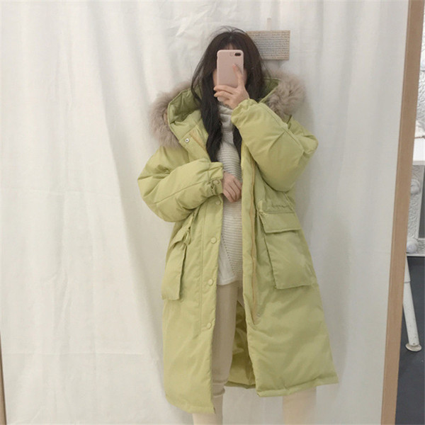 Winter women new large fur collar hooded down cotton coat female thick cotton coat long section slim bread clothing lady