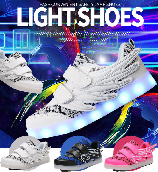 Kids Sneakers Creative Kids Shoes Led Lights Wings Shoes USB Charging Light Up Girls Boys 7 Colors Changing Flashing Lights Sneakers