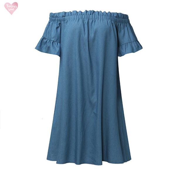 Платье Повседневный Плюс Размер Топы с плеча Бардо джинсовой рубашки платья женщин сексуальные Разрез шеи платья 2019 D0435