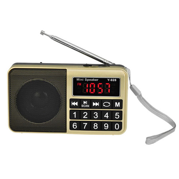 Music Digital Handheld Portable USB Stores Automatically Radio AM FM Button Rechargeable Pocket Receiver With Speaker